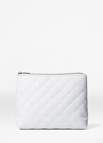 Косметичка белая стёганая на замке White cosmetic bag   La Biosthetique